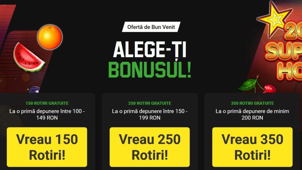 150-350 Rotiri Gratuite CASH la Unibet Casino