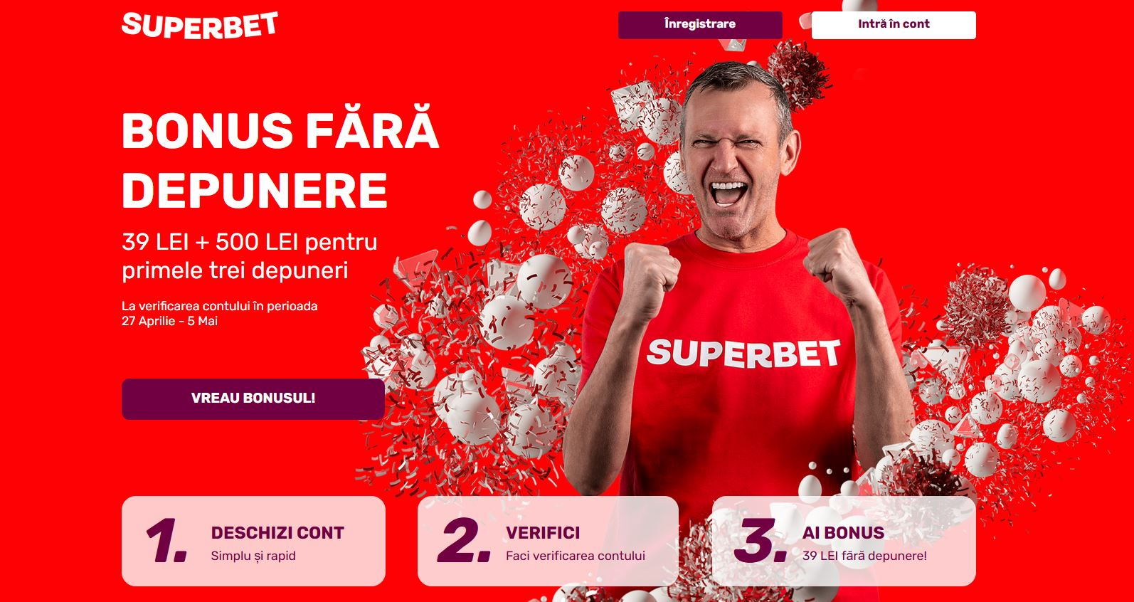 Rotiri gratuite la Superbet Bonus fără depunere 39 RON