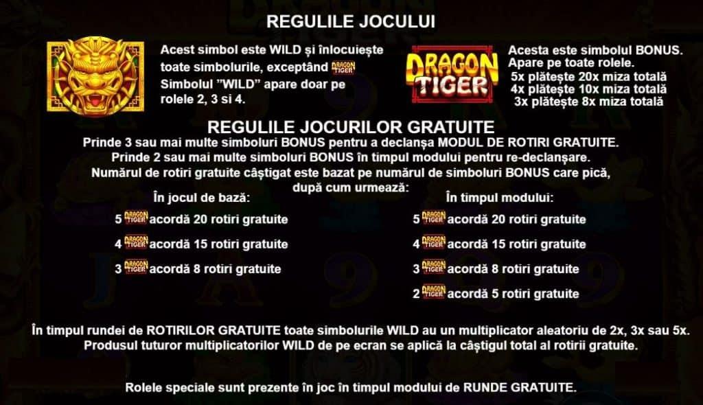 Jocul ca la aparate Dragon Tiger