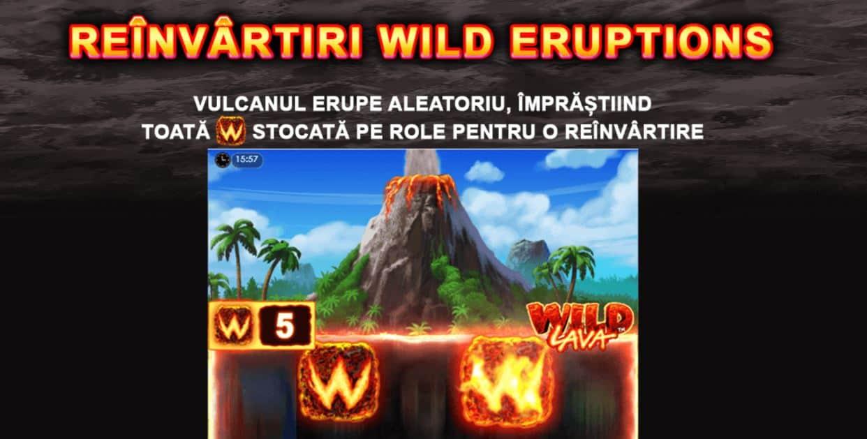 Jocul ca la aparate Wild Lava - Functii speciale