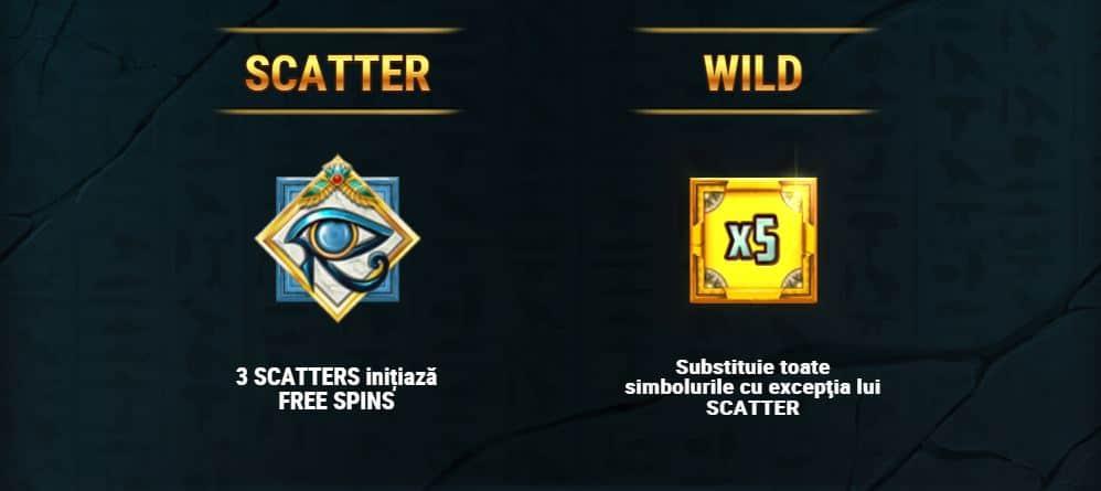 Jocuri gratuite, Scatter și WILD in slotul Golden Osiris
